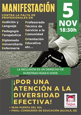 Manifestacion por la falta de profesionales en la escuela publica inclusion y diversidad